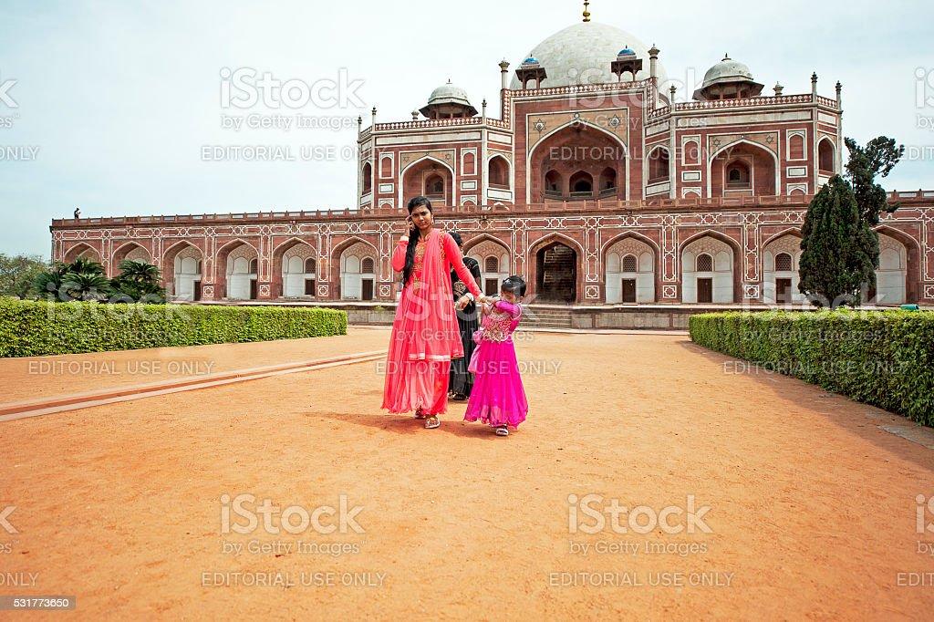 Visitors to Humayun's Tomb, Delhi stock photo