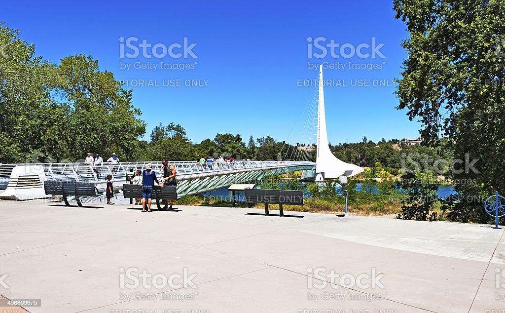 Visitors to the Sun Dial Bridge stock photo