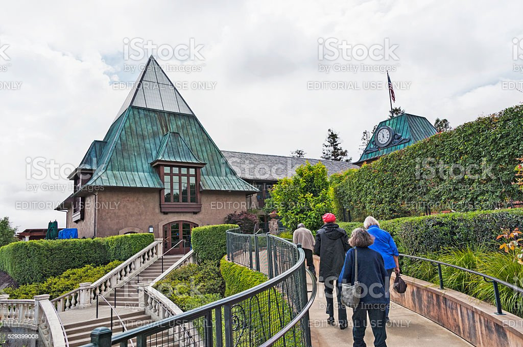 Visitors to this beautiful winery museum in Geyserville Napa Valley stock photo