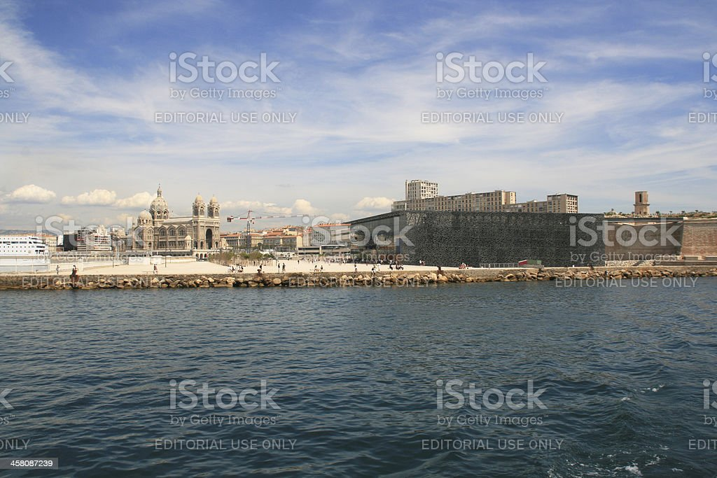 Visitors walk in front of the MuCEM, Marseille, France. stock photo