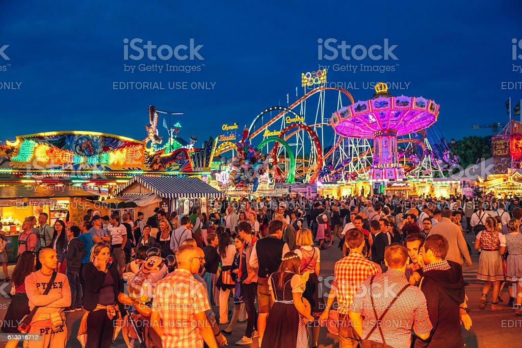 Visitors Walking Through Oktoberfest Fairgrounds, Munich, Germany stock photo