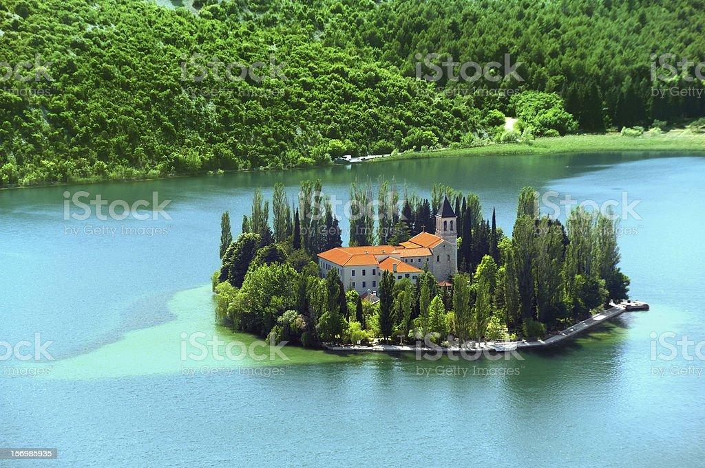 Visovac, Christian monastery, Croatia stock photo