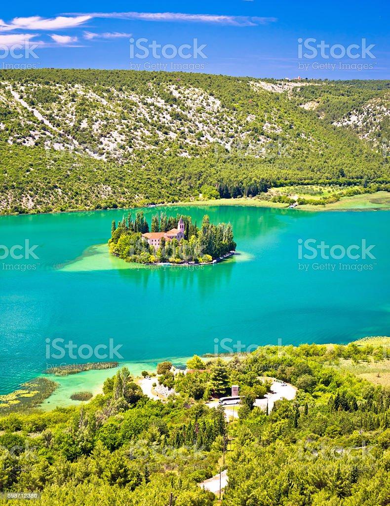 Visovac lake island monastery aerial view stock photo