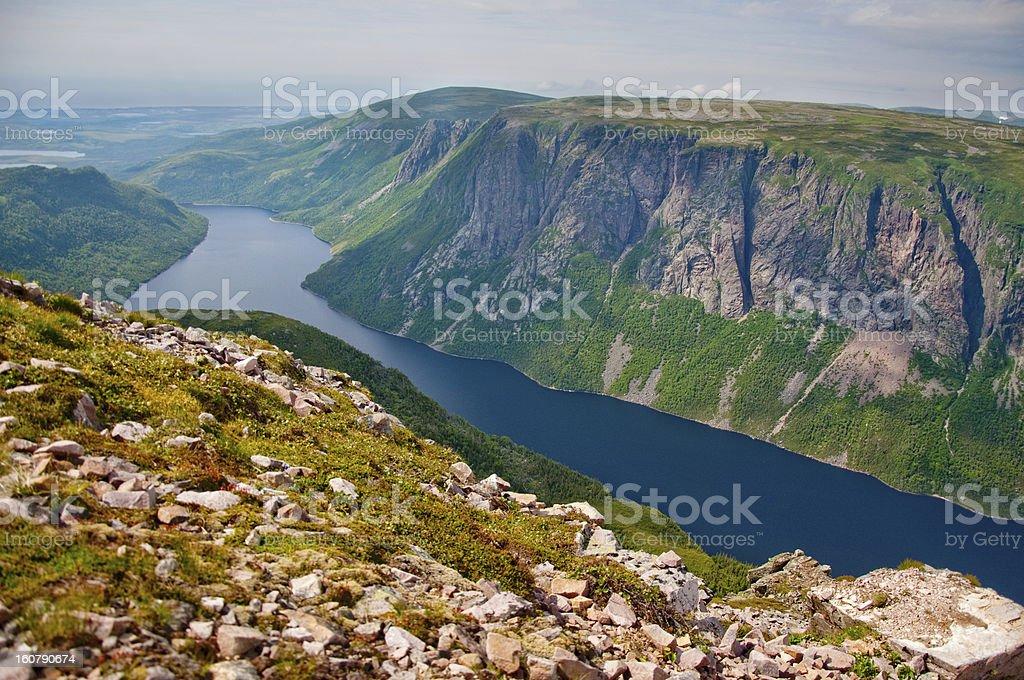 Vista at top of Gros Morne Mountain stock photo