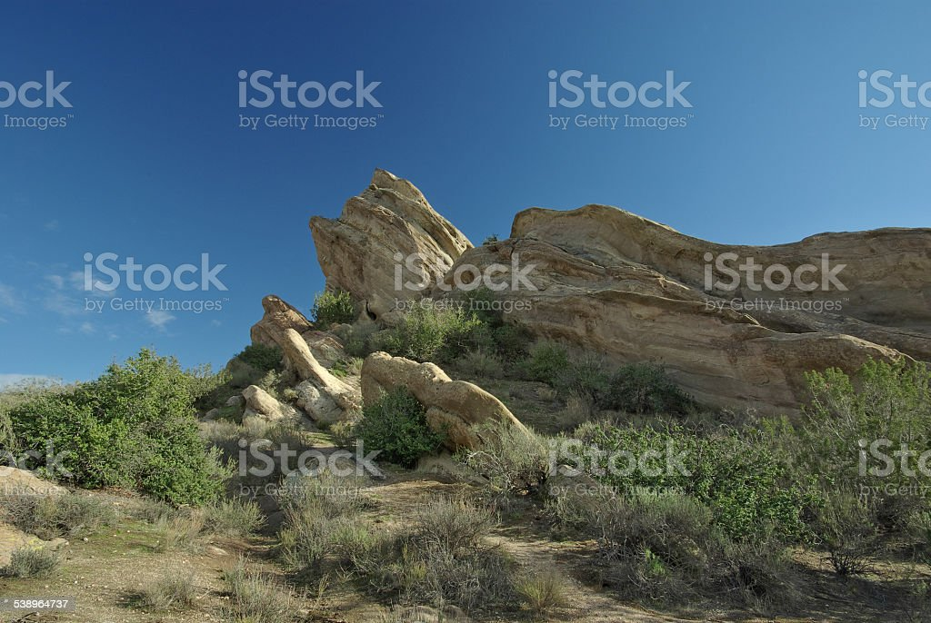 Vista of Vasquez Rocks Natural Area Park in Southern California stock photo
