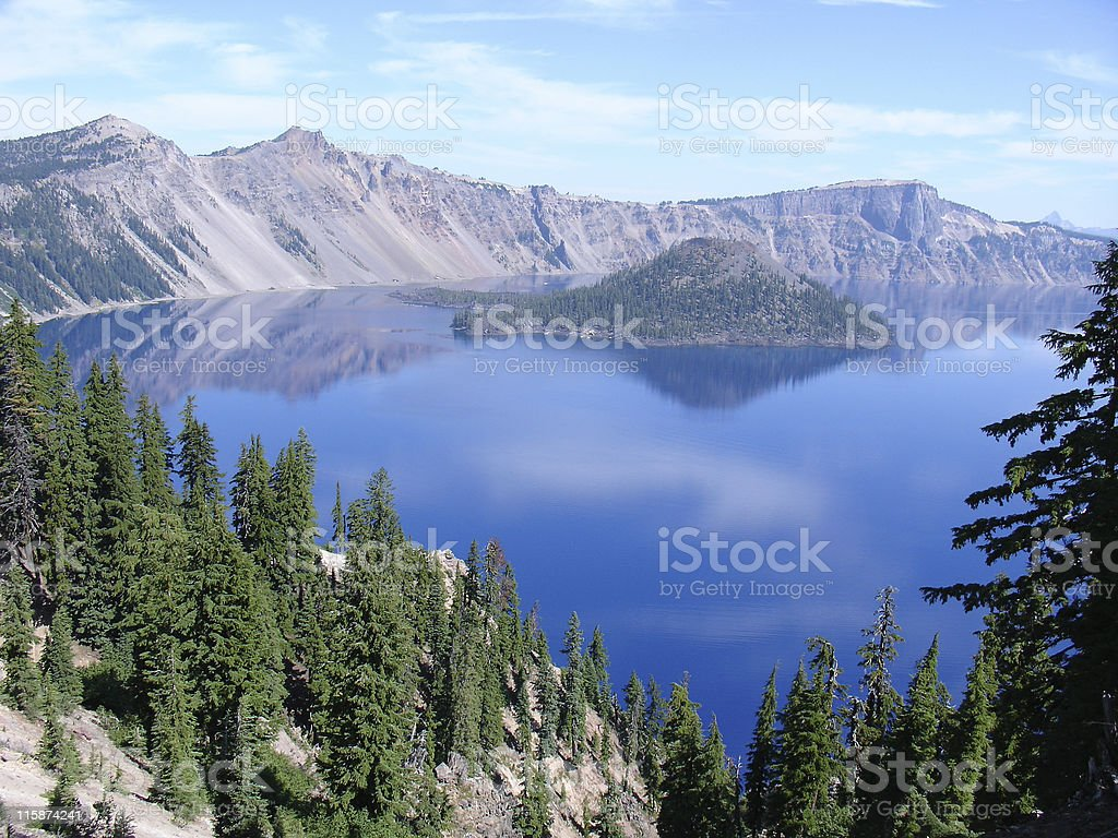 Vista of Wizard Island in Crater Lake in Oregon stock photo