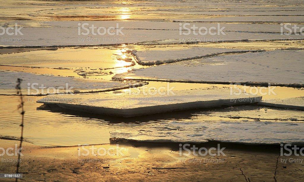 Vistula river in Poland - sunset. royalty-free stock photo