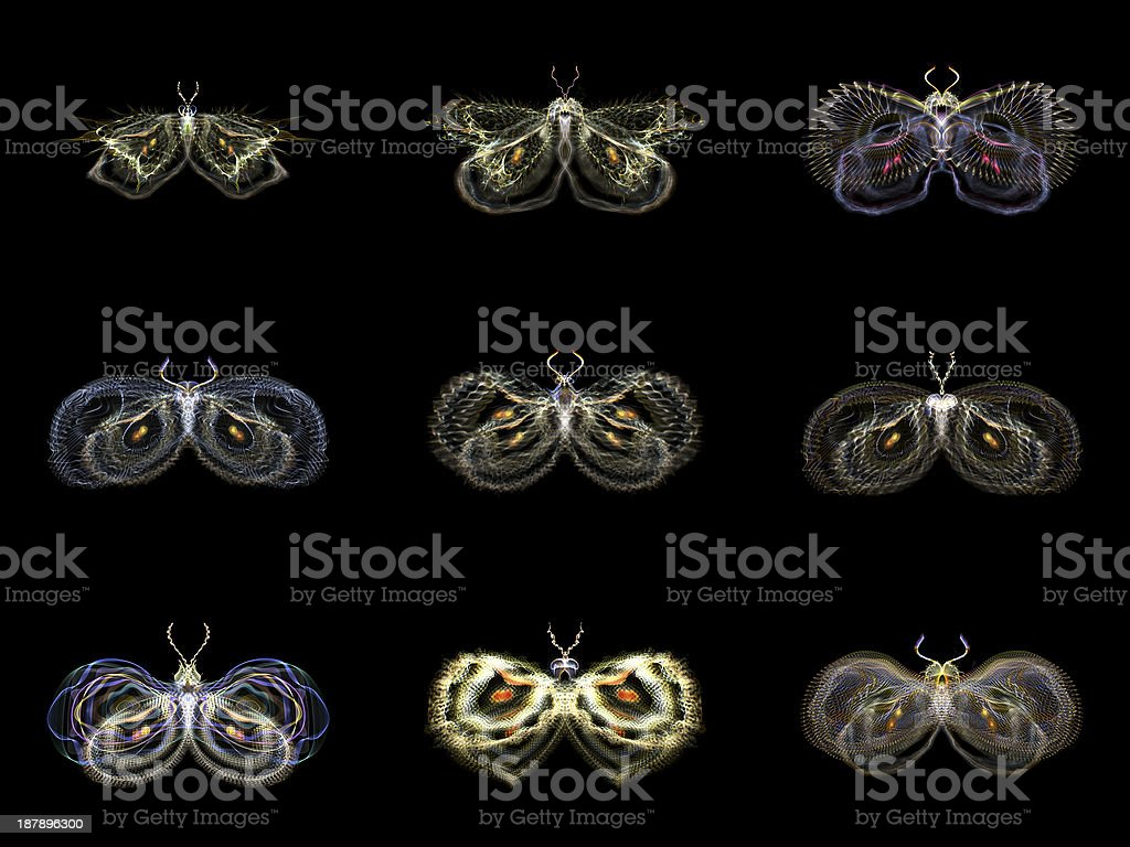 Visualization of Fractal Butterflies royalty-free stock photo