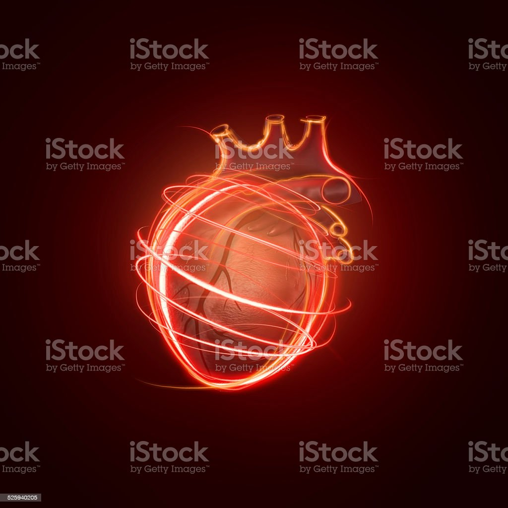 visualization of the human heart made of neon lines stock photo