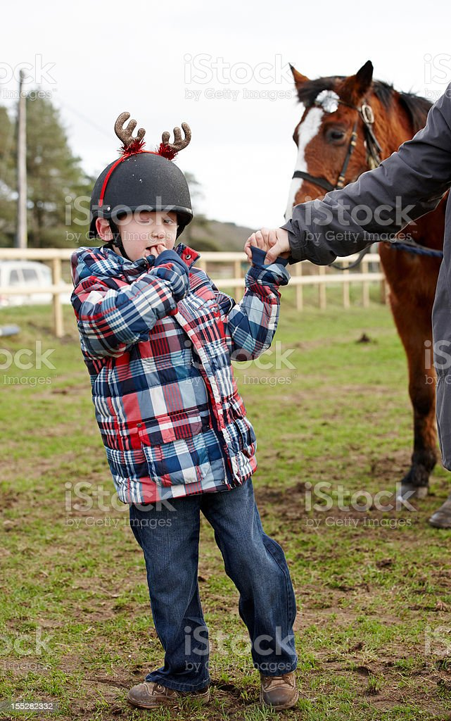 Visually impaired youngster with horse portrait royalty-free stock photo