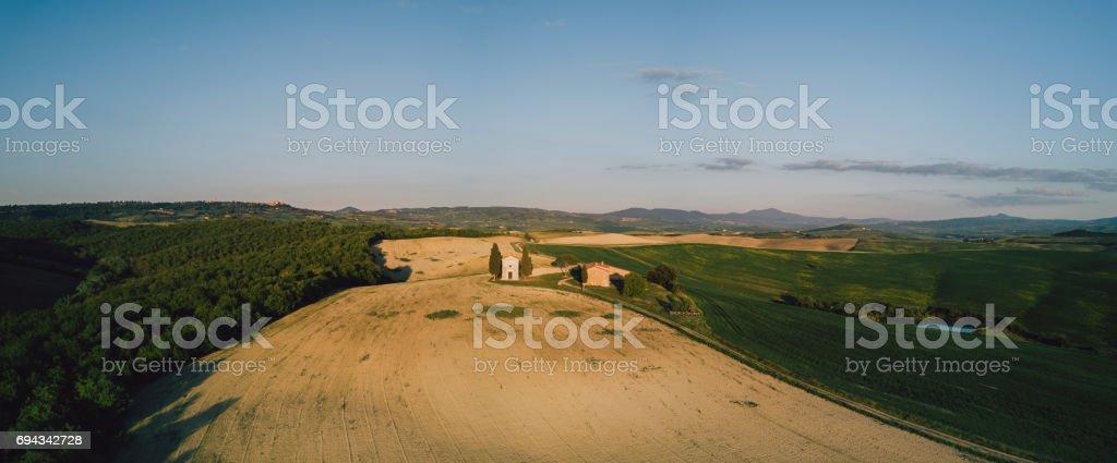 Vitaleta chapel in Tuscany at sunset - Bird's eye view stock photo