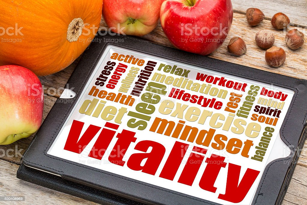 vitality concept on digital tablet stock photo