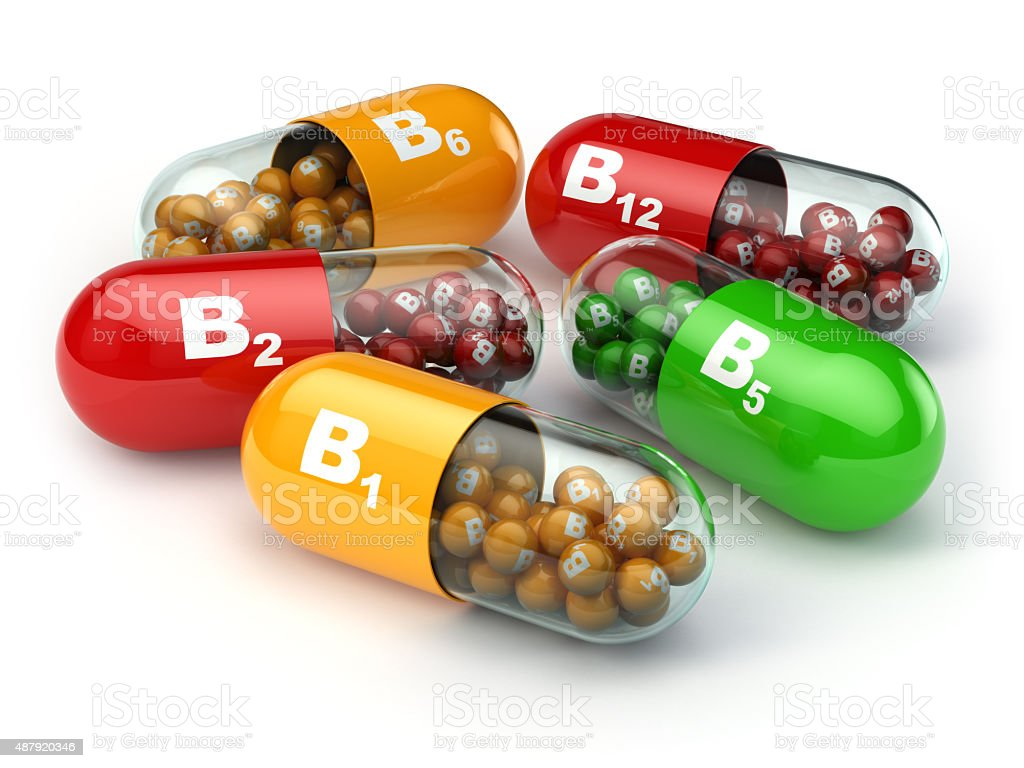 Vitamin B. Capsules B1 B2 B6 B12 stock photo