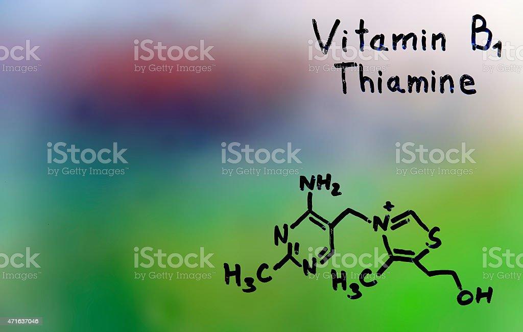 vitamin B1, formula, vitamins stock photo