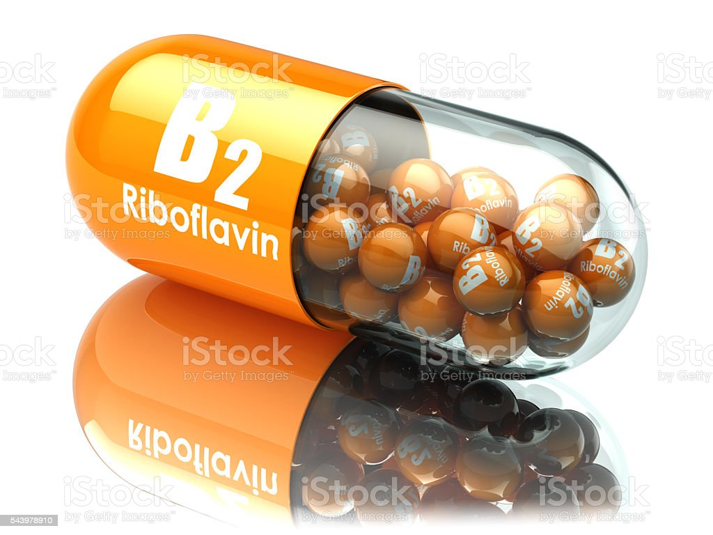 Vitamin B2 capsule. Pill with riboflavin. Dietary supplements. stock photo