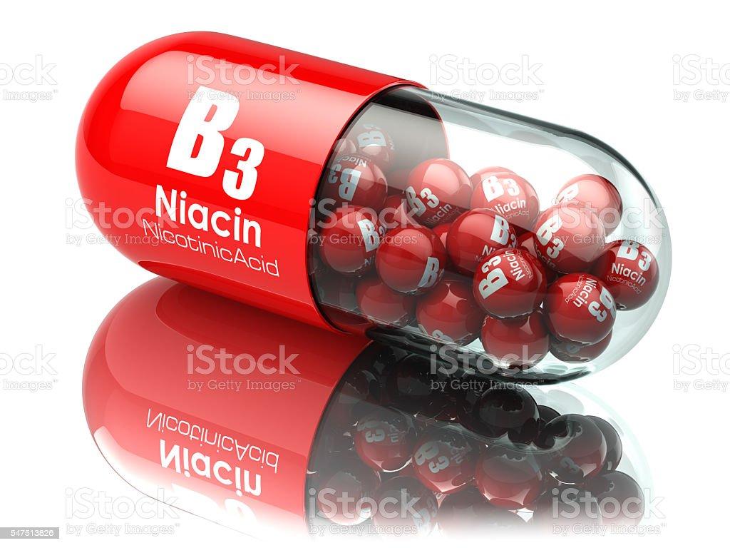 Vitamin B3 capsule. Pill with pantothenic acid. stock photo