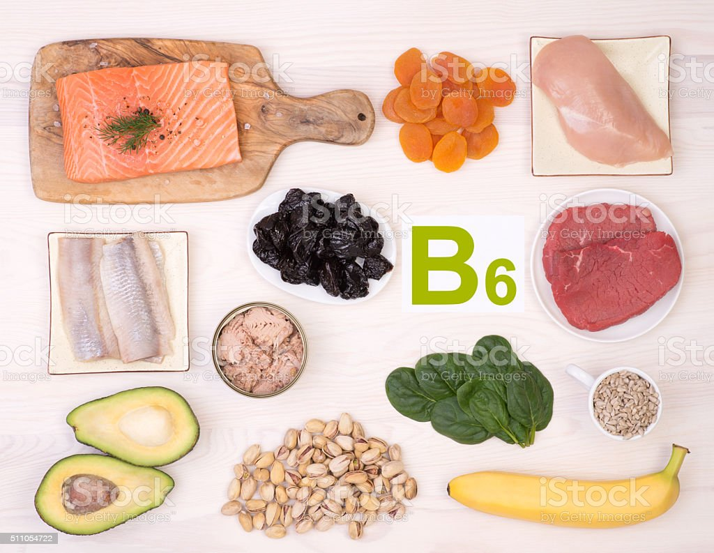 Vitamin B6 containing foods stock photo
