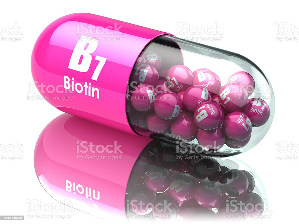 Vitamin B7 capsule. Pill with biotin. Dietary supplements. stock photo