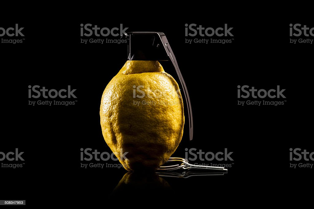 Vitamin Bomb - Lemon Hand Grenade Fruit Explosive stock photo