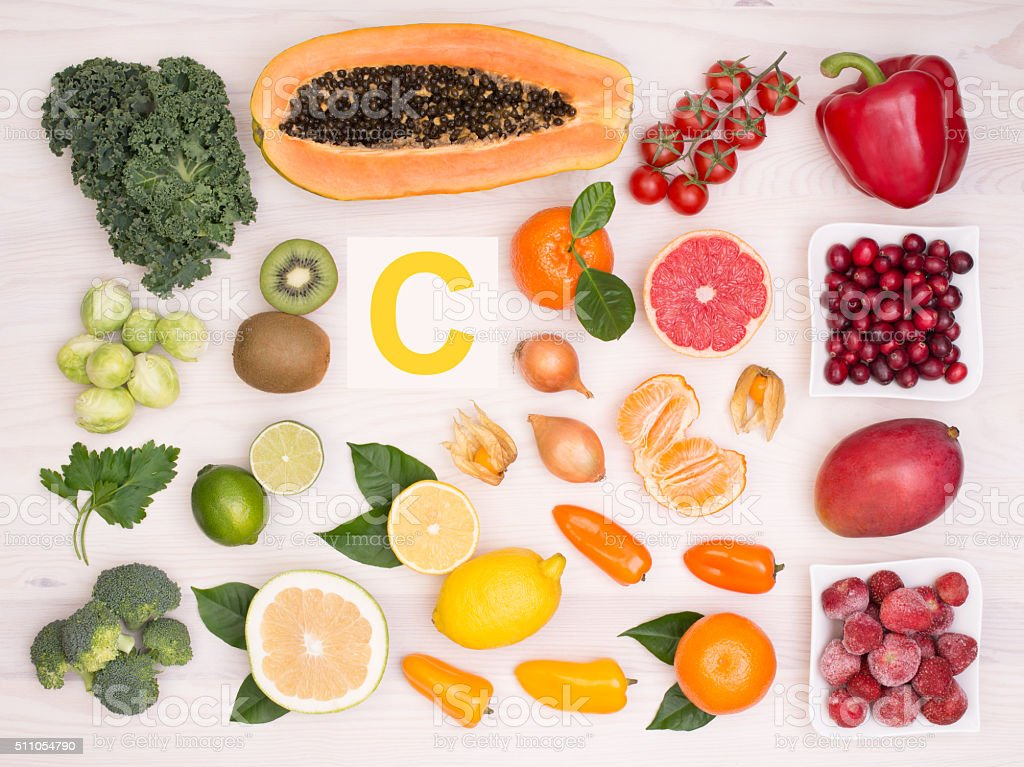 Vitamin C containing foods stock photo