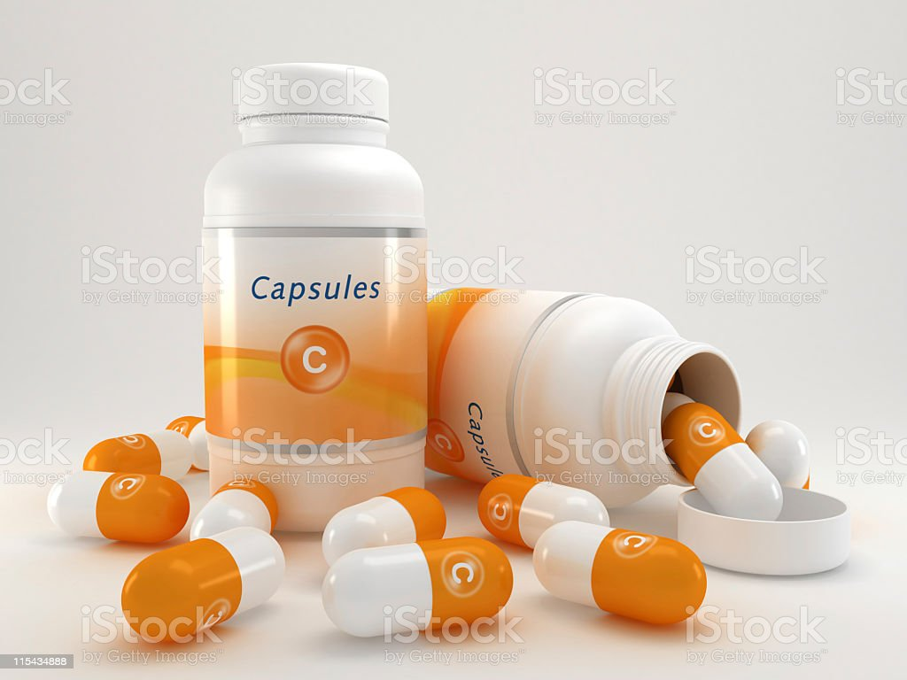 Vitamin C pills royalty-free stock photo