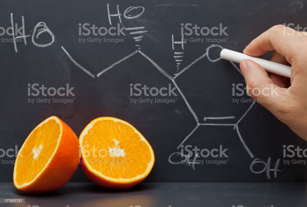 Vitamin C structure stock photo