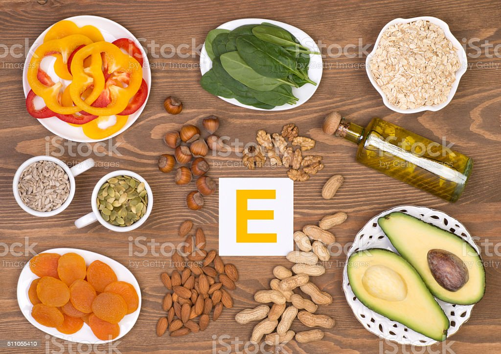 Vitamin E containing foods stock photo