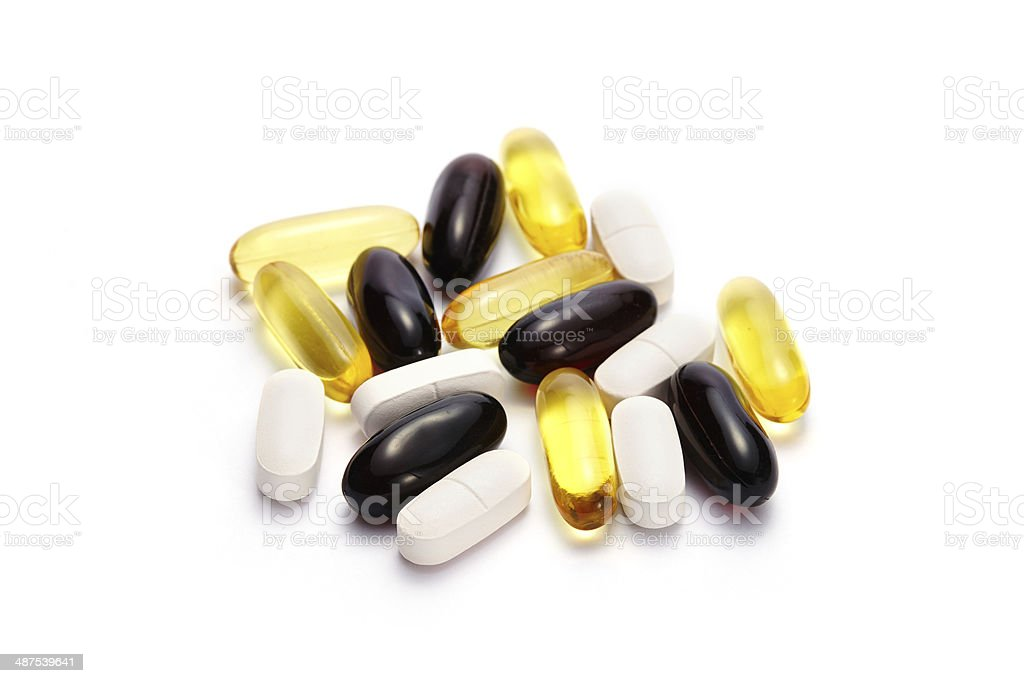 Vitamin Omega-3 fish oil capsules and pills isolated stock photo