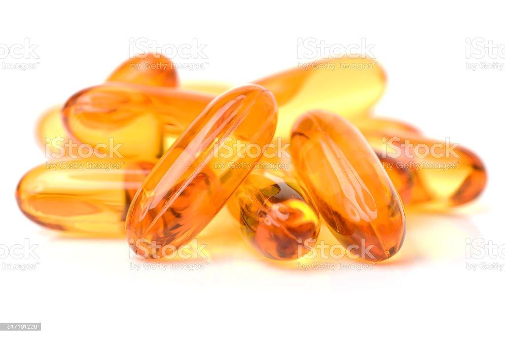 Vitamin Omega-3 fish oil capsules stock photo