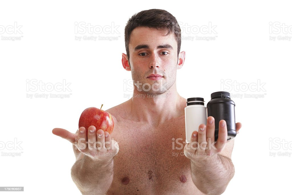 vitamin or pills drag tablet boxes supplements Man isolated royalty-free stock photo
