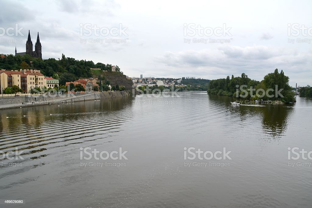 Vitava river and St Peter and Paul church,  Vy?ehrad Prague stock photo