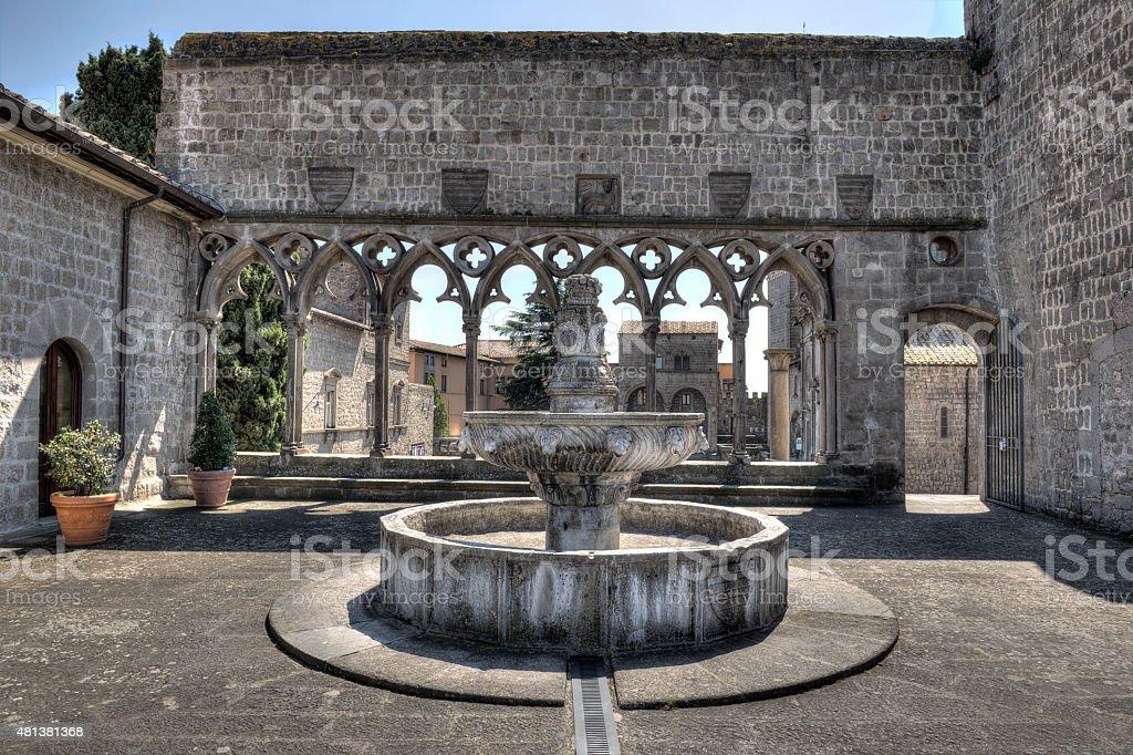Viterbo Fountain Papal Palace stock photo