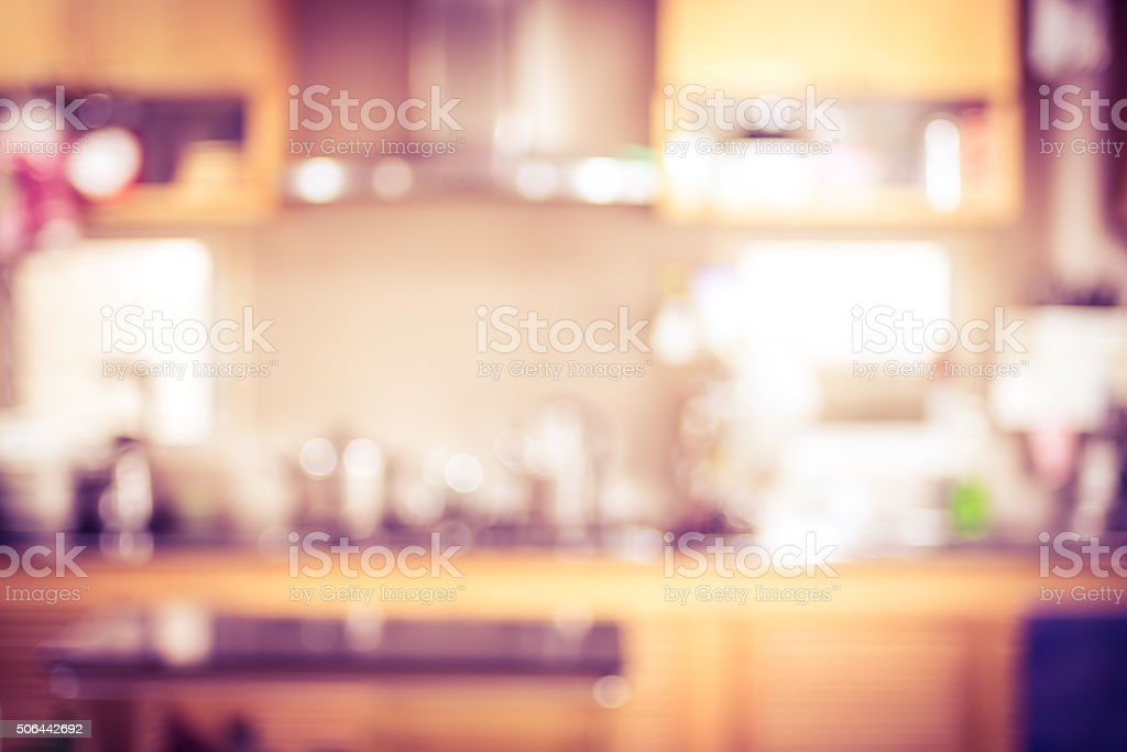vitnage filter: Blur background,Modern kitchen with bokeh light stock photo