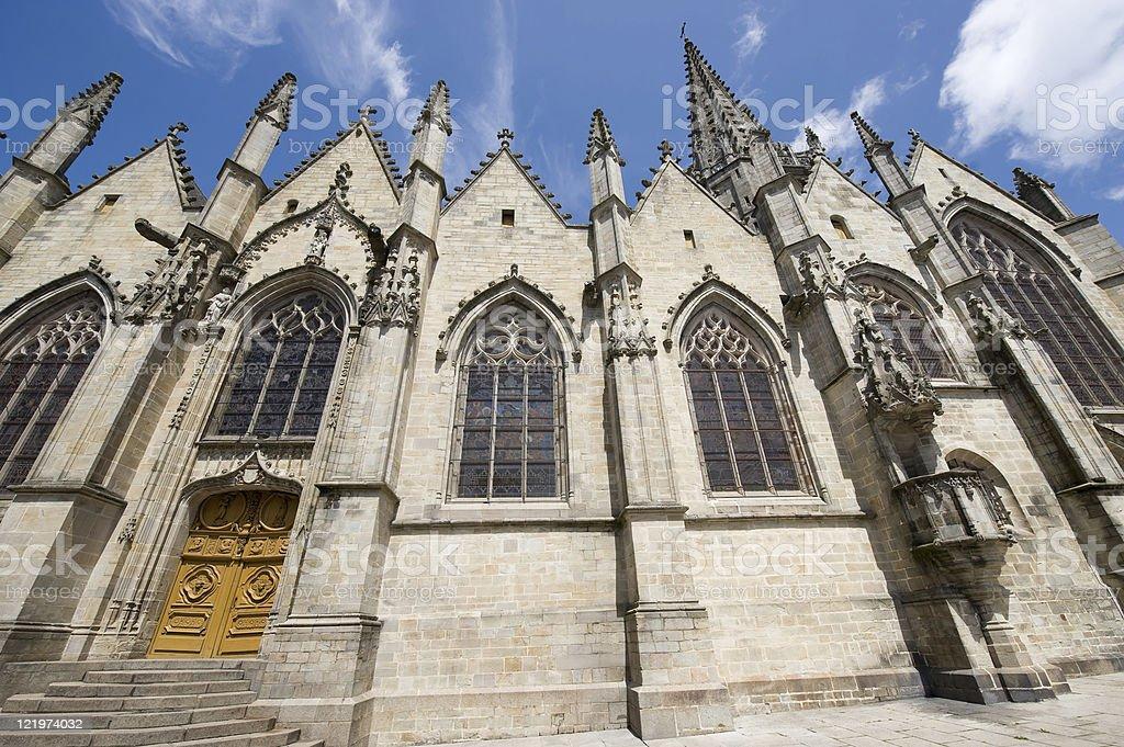 Vitré (Brittany, France): Gothic church exterior stock photo