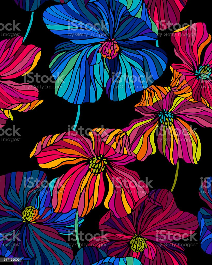 vitrage flower pattern stock photo
