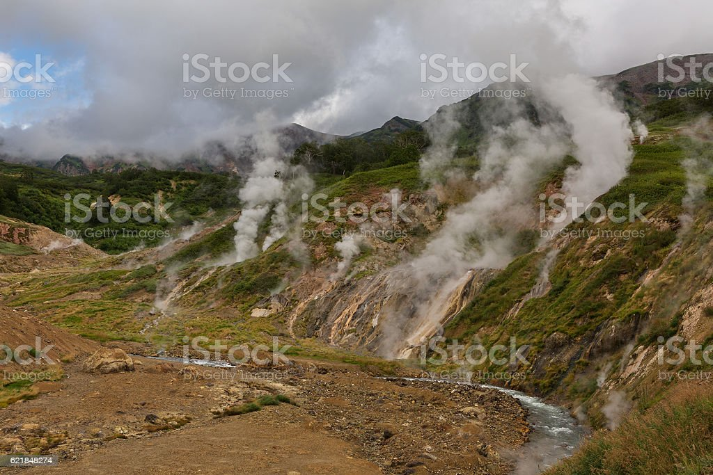 Vitrazh Stained Glass Wall in Valley of Geysers. stock photo