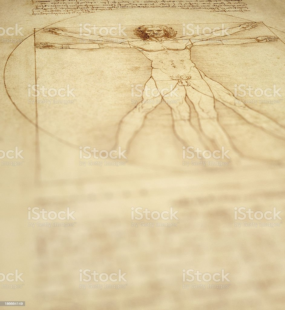Vitruvian Man Background stock photo
