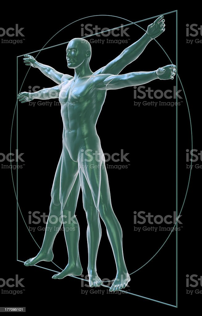 Vitruvian man on black, three-quarter view stock photo