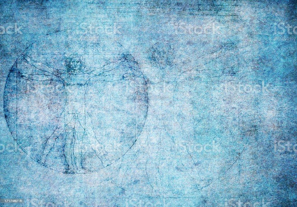Vitruvian man on blue textured background royalty-free stock photo