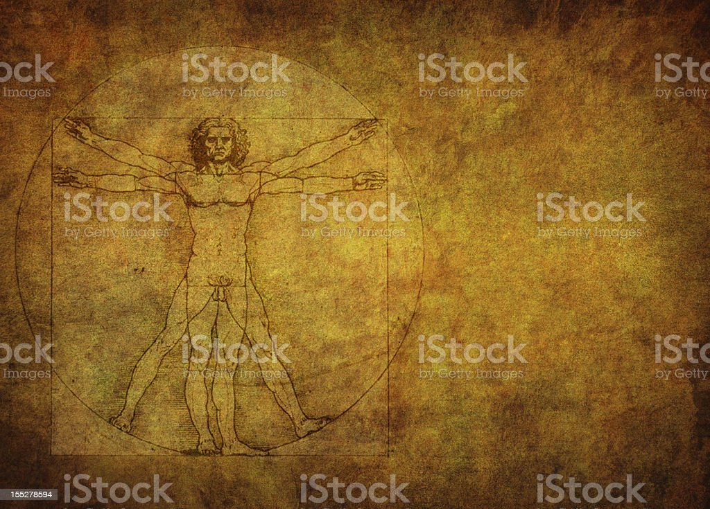 Vitruvian man on gold textured background stock photo