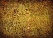 Vitruvian man on gold textured background