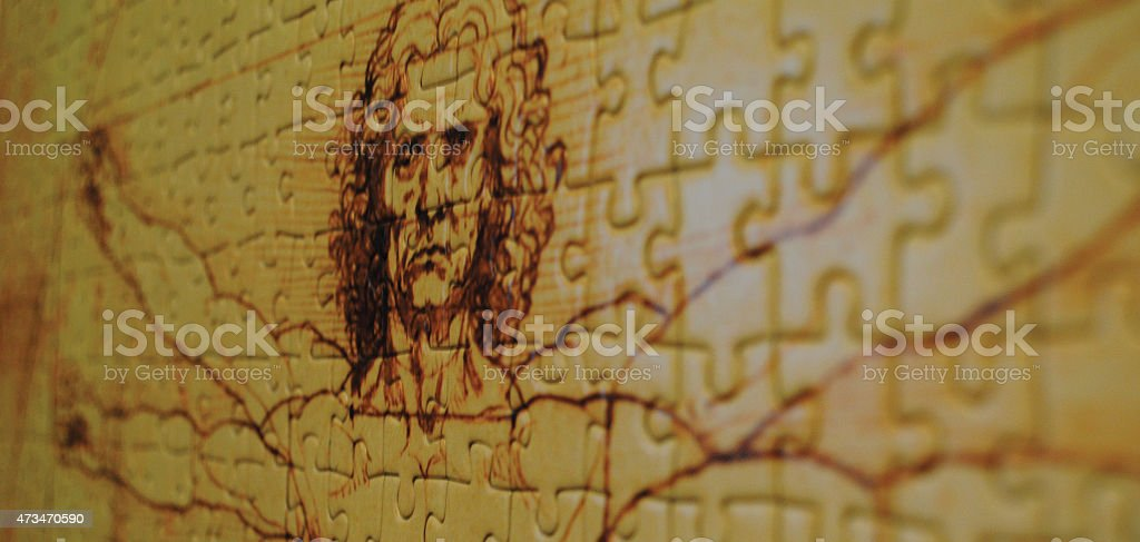 Vitruvian man puzzle stock photo