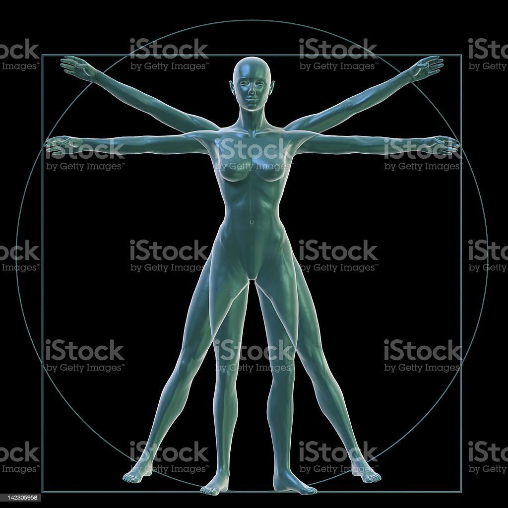 Vitruvian woman on black stock photo