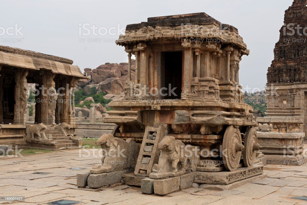 Vittala Temple Stone Chariot, Hampi, Karnataka, India. stock photo
