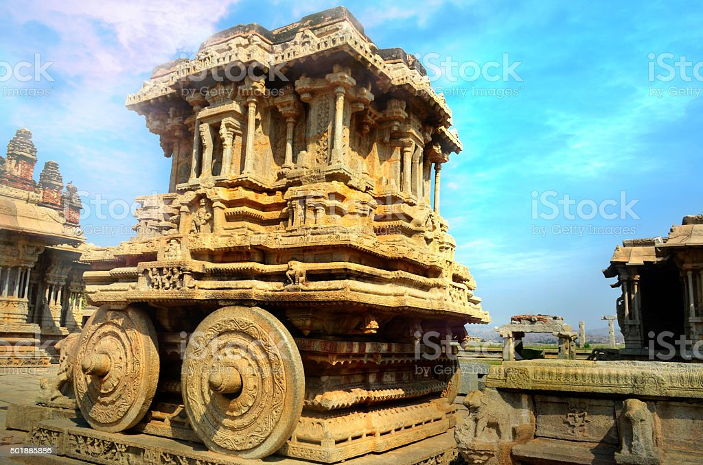 Vittala Temple Stone Chariot,Hampi,Karnataka,India. stock photo