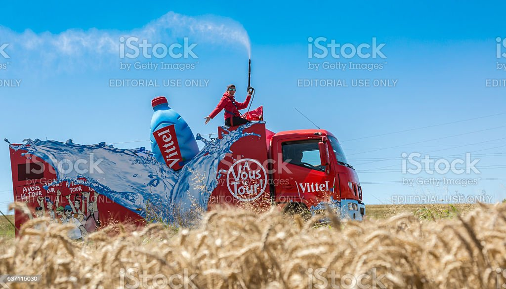 Vittel Vehicle - Tour de France 2016 stock photo