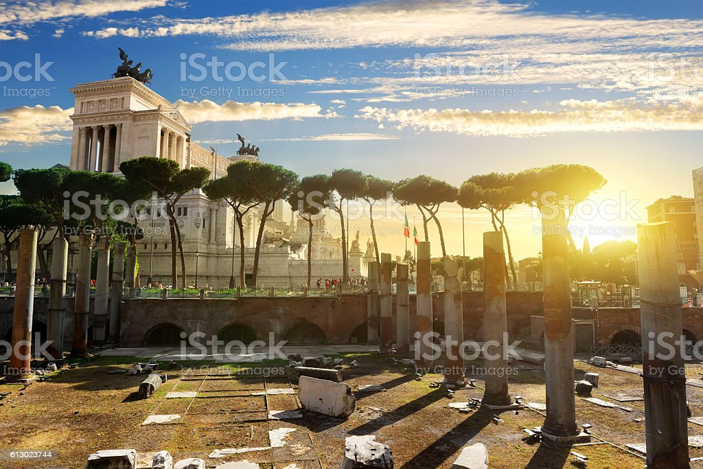 Vittoriano and Forum Traiani stock photo