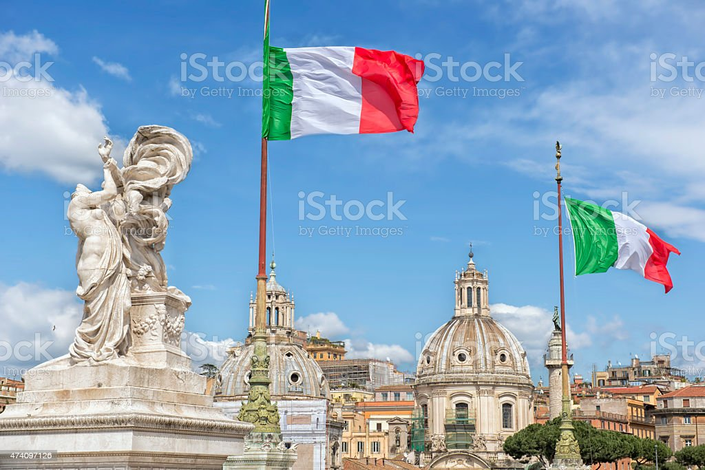 Vittoriano in Rome Altar of the Fatherland Waving Flags stock photo