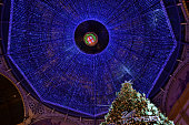 Vittorio Emanuele II Gallery's dome decorated with blue crystals.