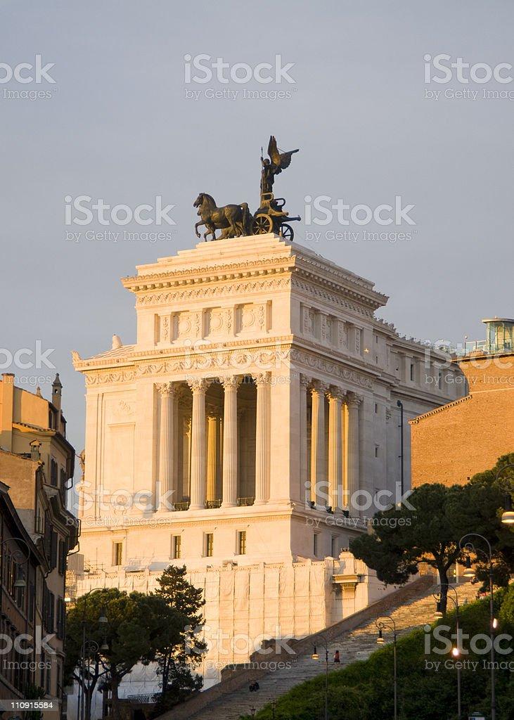 Vittorio Emanuele Monument with bronze quadriga stock photo